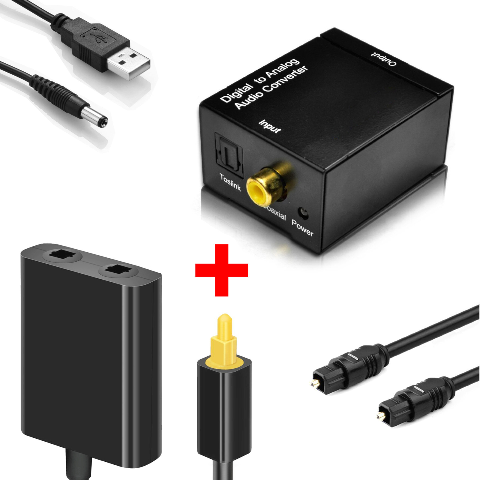 EEEKit Toslink Digital Optical Fiber Optic Splitter 1 in 2 Out Audio Adapter and Digital Coax to Analog RCA Audio Conver