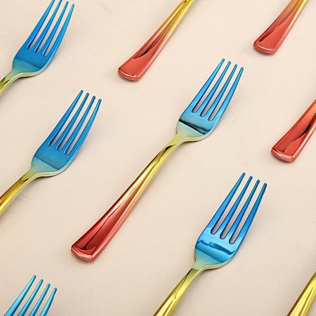 BalsaCircle 24 pcs 7-Inch long Ombre Plastic Party Forks Disposable Wedding Reception Event Catering Tableware Wholesale Supplies - Longs Wholesale