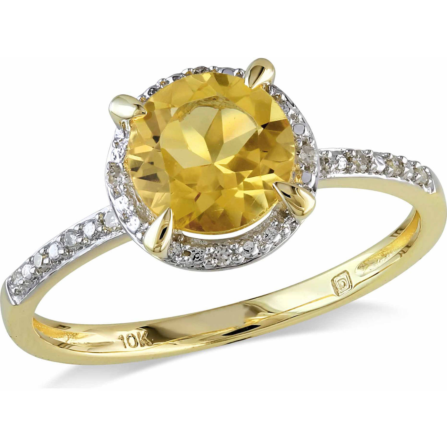 Tangelo 1-1/4 Carat T.G.W. Citrine and Diamond-Accent 10kt Yellow Gold Halo Ring