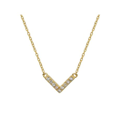 Fronay JE1131G Gold Plated Sterling Silver CZ V Design Chevron Necklace - image 1 de 1