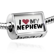 Bead I heart love my Nephew Charm Fits All European Bracelets