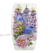 Stony Creek BLUEBIRDS FLOWERS MED VASE Glass Peony Hyacinth Bta0275