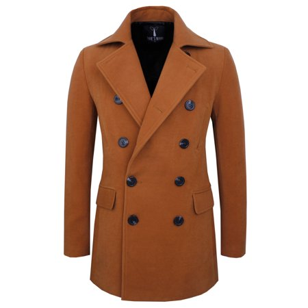 TAM WARE Mens Stretch Wool Blend Trim Fit Pea Coat ()