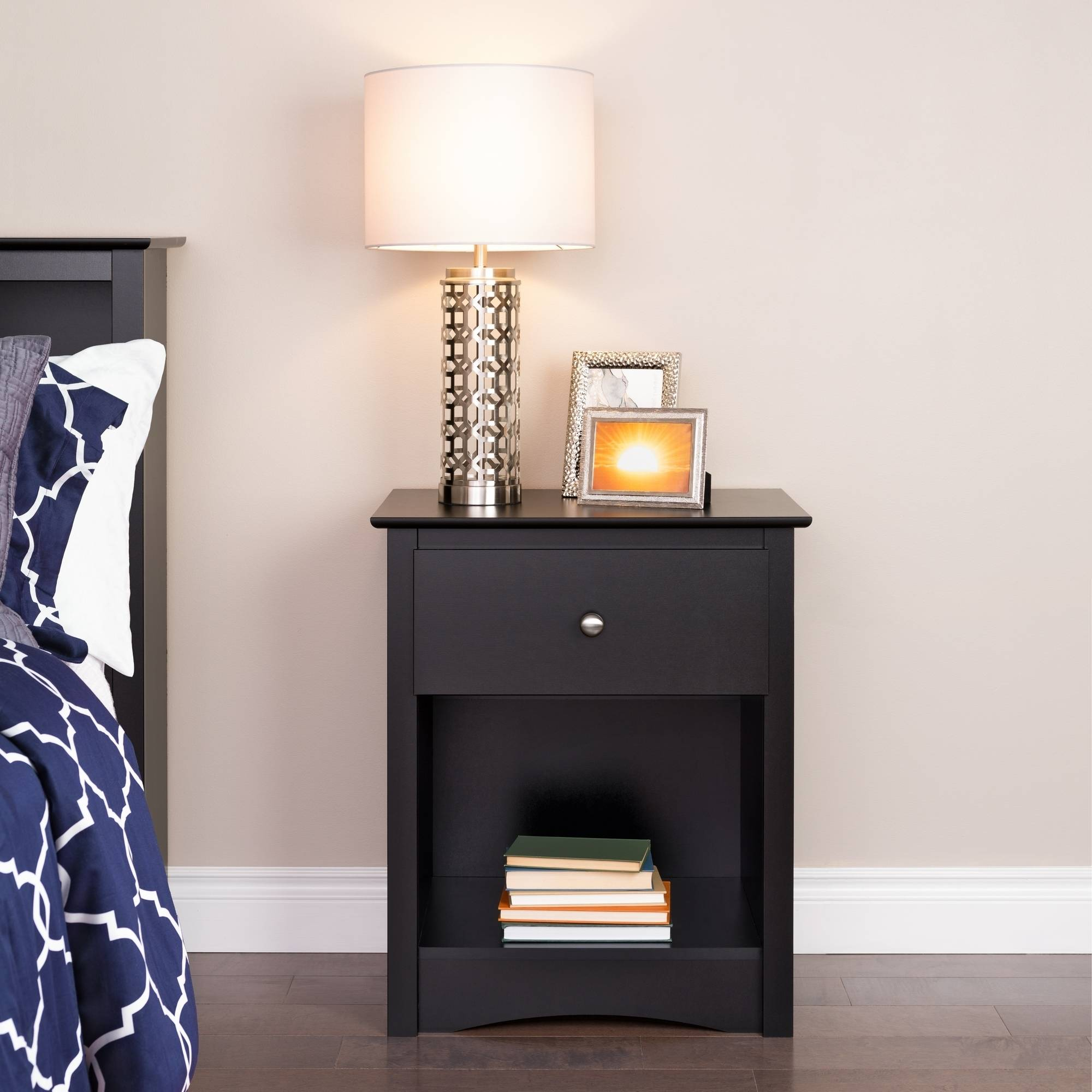 Prepac Sonoma 1-Drawer Tall Nightstand with Open Shelf, Black