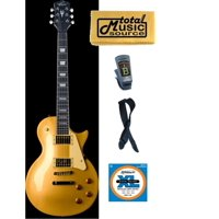 Oscar Schmidt Washburn Gold LP Style Electric Guitar FREE STRINGS TUNER STRAP, OE20G PACK