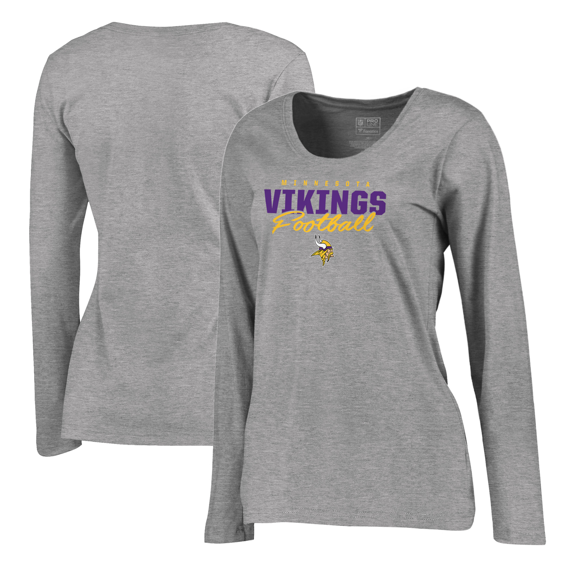Minnesota Vikings NFL Pro Line by Fanatics Branded Women's Iconic Collection Script Assist Plus Size Long Sleeve T-Shirt - Ash