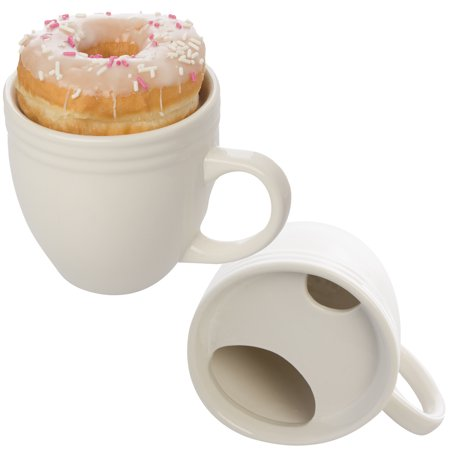 Best Morning Ever (2 Pack) Donut Warming White Ceramic Coffee Mug Set 20oz Cup Drip Trap Mustache Guard
