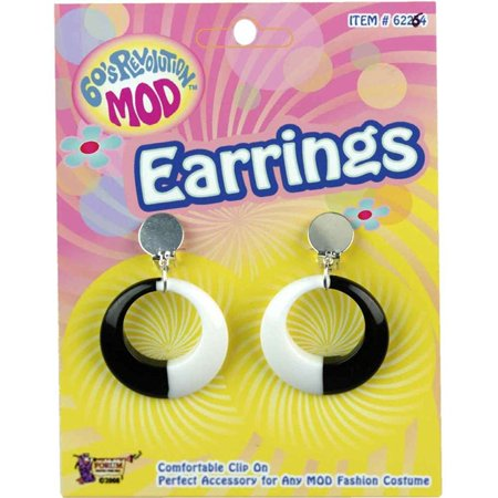 Mod Black and White Hoop Earrings, One Size By Forum Novelties - Black And White Hoop Earrings