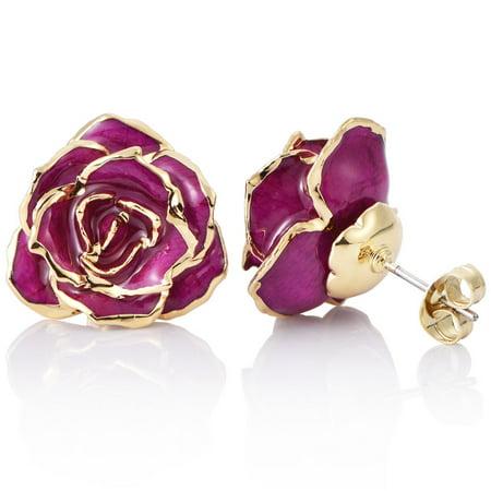 Women S Flower Stud Earrings 24k Gold Studs Valentines Gift For Her