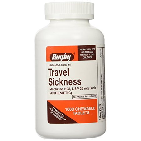Rugby Meclizine 25mg Travel Sickness Tablets (Compare to Bonine) 1000ct (Best Travel Sickness Tablets)