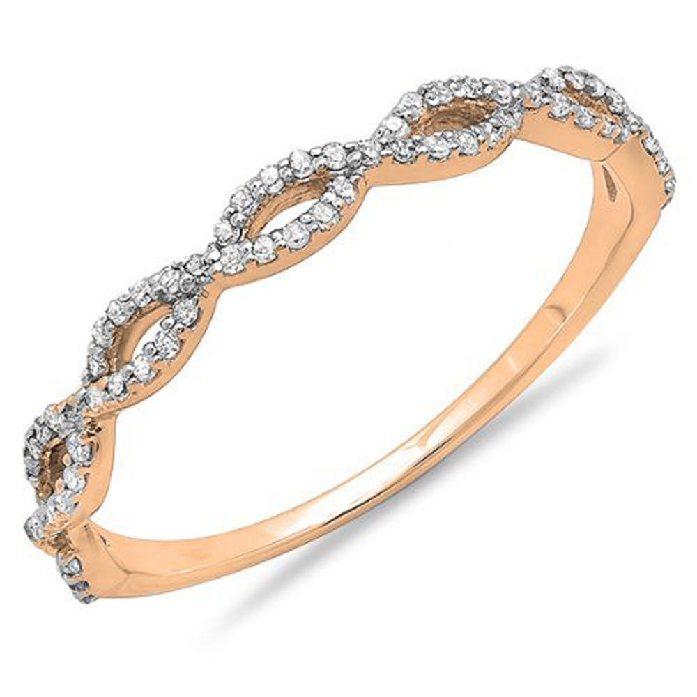 0.20 Carat (ctw) 10K Gold Round Diamond Ladies Swirl Anniversary Wedding Band Stackable Ring 1/5 CT
