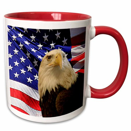 3dRose Bald Eagle and American Flag - Two Tone Red Mug, 11-ounce