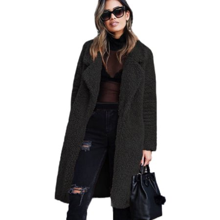 Womens Fluffy Fleece Long Trench Coat Jacket Faux Fur Borg Outwear Warm Overcoat ()