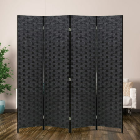 Wood Mesh Woven Design 4 Panel Folding Wooden Screen Room (Oriental Wood Screen)