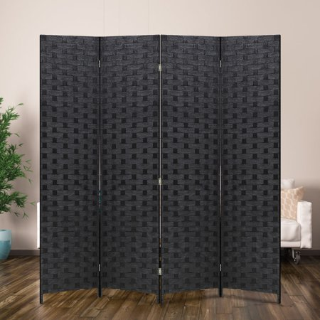 Wood Mesh Woven Design 4 Panel Folding Wooden Screen Room Divider ()