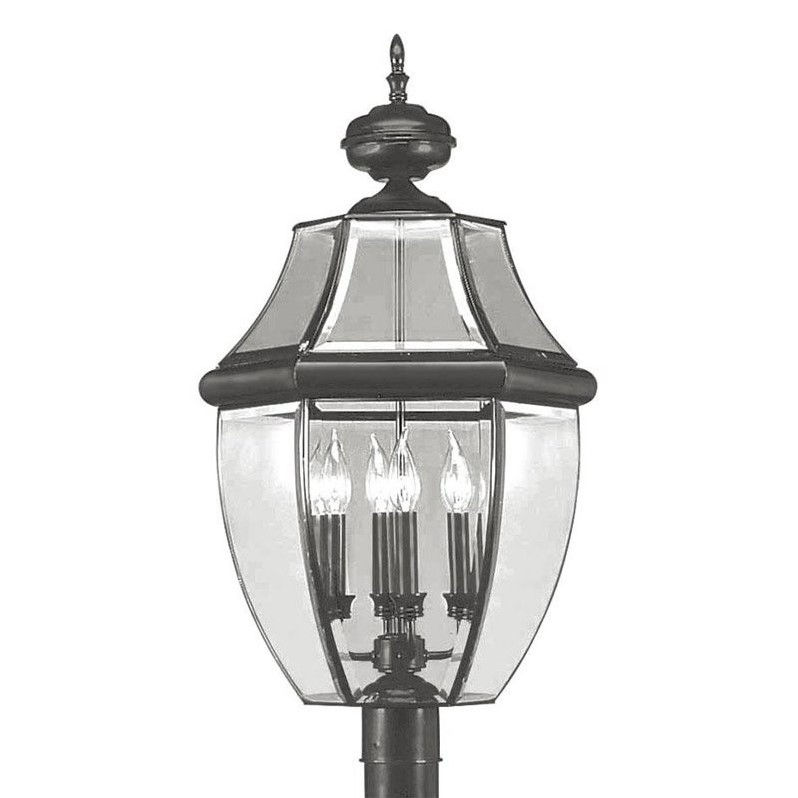 Livex Lighting 2358-04 Outdoor Post with Clear Beveled Glass Shades Black