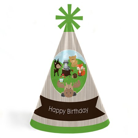 Woodland Creatures - Cone Happy Birthday Party Hats for Kids and Adults - Set of 8 (Standard Size) - Birthday Party Hats For Adults
