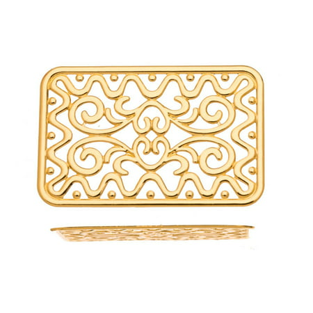 Brass Focal/Component, 16K Gold-Finished Paisley Rectangle 49x32mm pack of 2pcs (3-Pack Value Bundle), SAVE $2