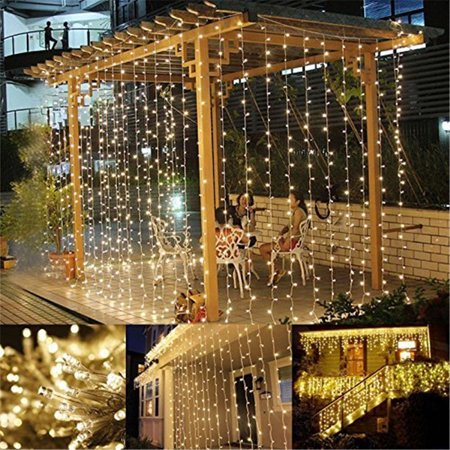 Lighting EVER 9.8*9.8ft LED Curtain Window Icicle Lights, 306 LED, Warm White, 8 Modes, String Light for Christmas, Halloween, Wedding, Party Backdrops - Halloween Light Show Party Anthem