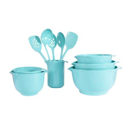 - Mainstays 11PC Melamine Mixing Bowl and Utensil Set- Aqua