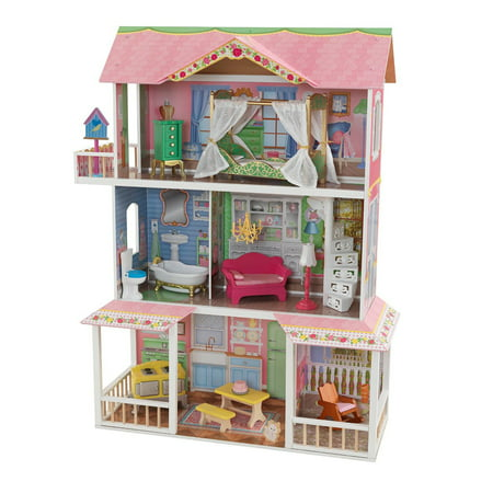 Kidkraft Sweet Savannah Wooden Pretend Play House Doll Dollhouse W Furniture