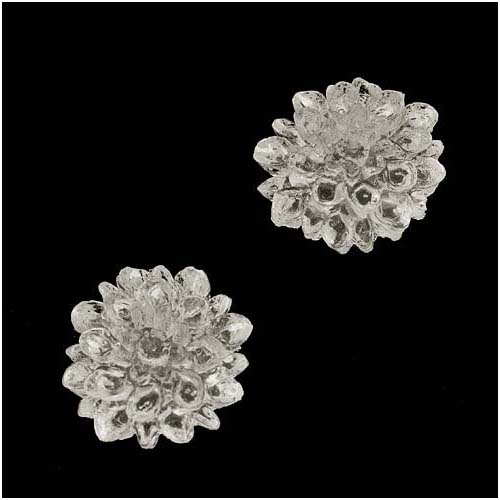 Vintage Style Clear Dyeable Lucite Cabochons Chrysanthemum Mum Flower 16mm (2)