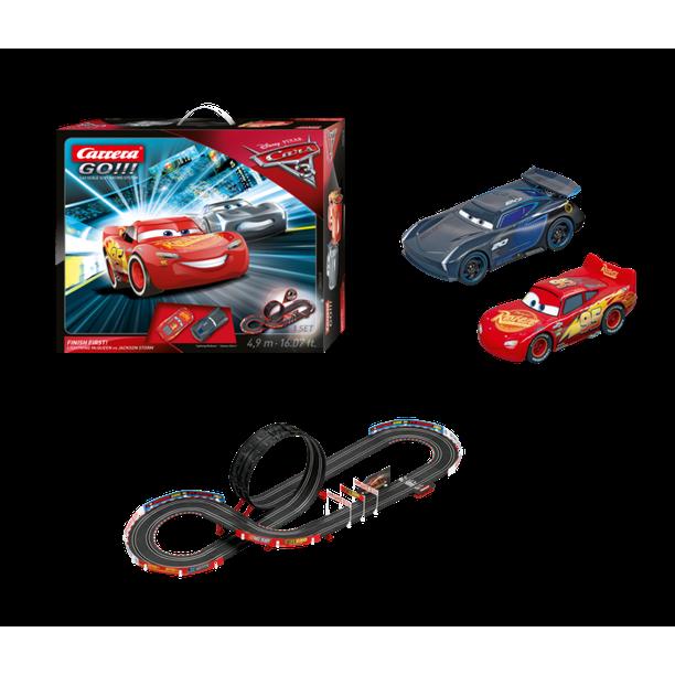 Carrera Go Disney Pixar Cars 3 Finish First Slot Car Set With Lightning Mcqueen Car And Jackson Storm Car Walmart Com Walmart Com