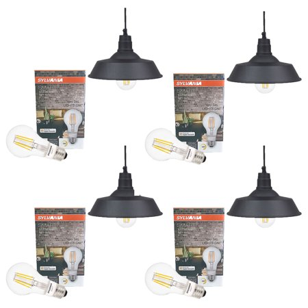 Sylvania 60053 LED Dimmable Hudson Factory 12 Inch Pendant A19 Light, (4 Pack)