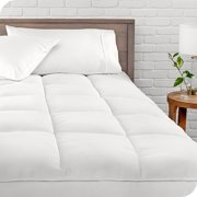 Bare Home Pillow-Top Mattress Pad - Down Alternative Overfilled Microplush Reversible Topper (Queen)