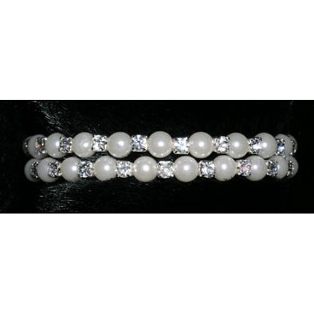#14541 - Double Wraparound Coil Rhinestone and Pearl Bracelet