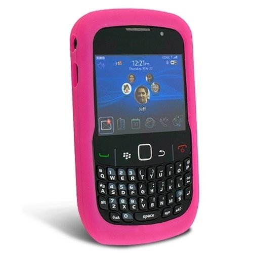 Solid Skin Cover ((Hot Pink) Fot BlackBerry Curve 8520 8530 Silicone Skin Case Cell Phone Protector Phone Accessory