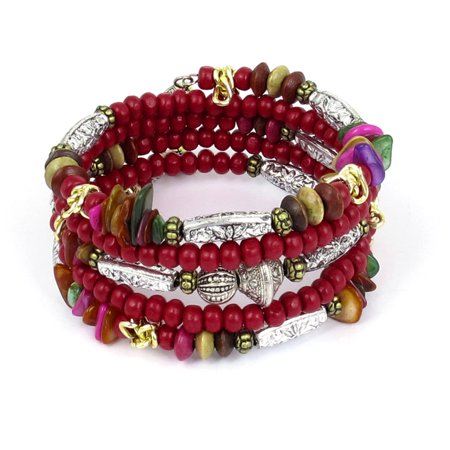Unique Bargains Lady National Style Handmade Wooden Beads Multilayer Wrist Bangle Bracelet Red (Wooden Bangle Bracelets)