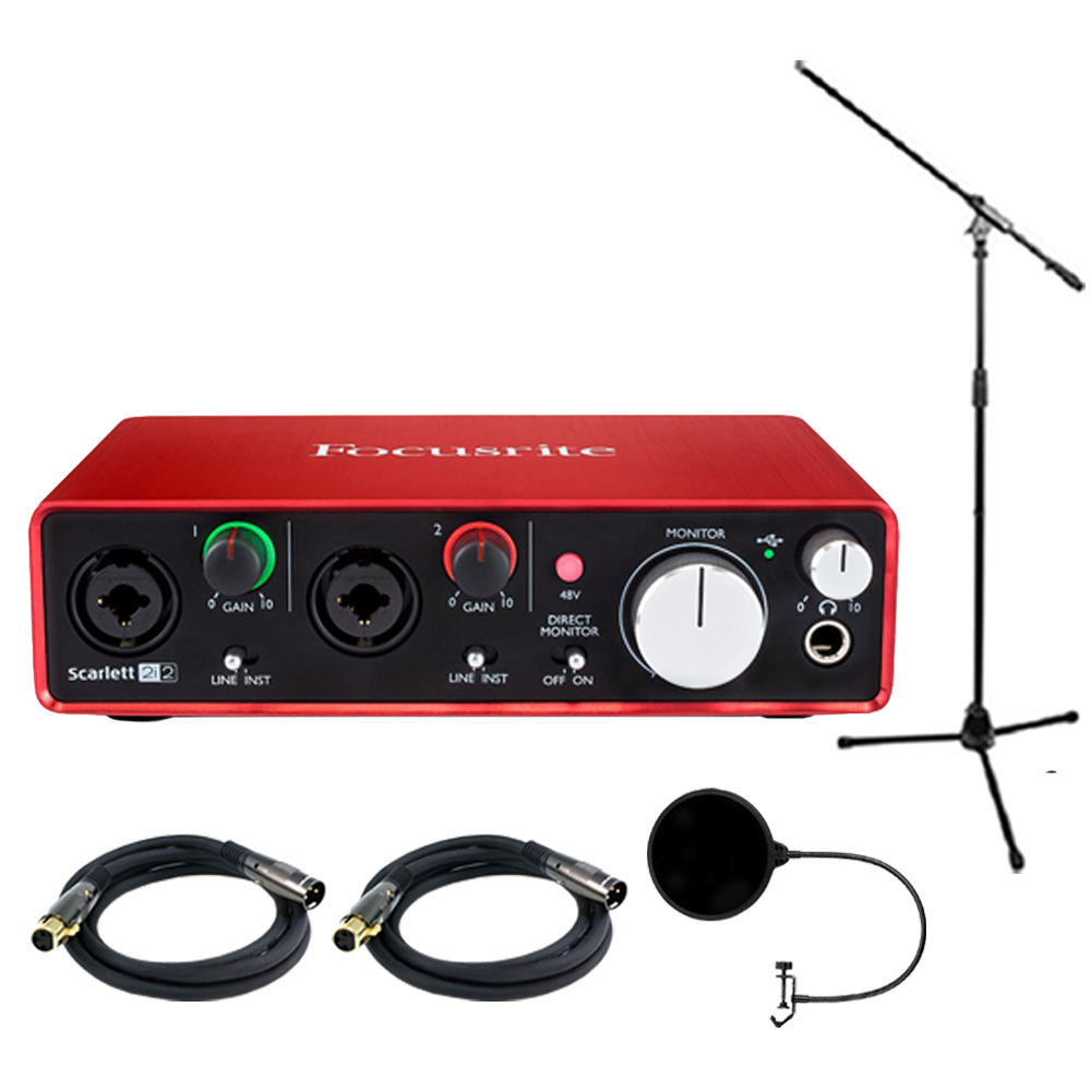 Focusrite Scarlett 2i2 USB Audio Interface (2nd Generation) Bundle includes 2 XLR Cables, Microphone Stand and Wind Screen