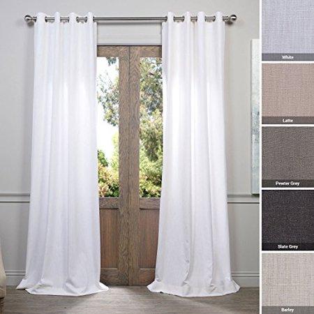 HPD Half Price Drapes FHLCH-VET13191-96-GR Grommet Heavy Faux Linen Curtain (1 Panel) 50 X 96 White - image 1 of 1