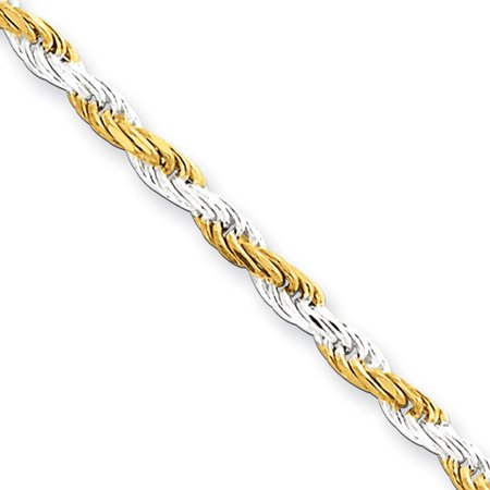 Sterling Silver 18in & Vermeil 2.5mm D/C Rope Necklace