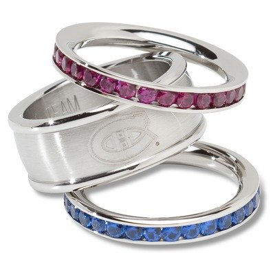 Montreal Canadiens MONTREAL CANADIENS TEAM LOGO CRYSTAL STACKED RING SET SIZE 7