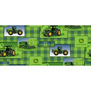 John Deere Cotton Plaid Patch Allover Fabric, per Yard