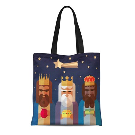 LADDKE Canvas Tote Bag Balthazar the Three Kings of Orient Wise Men Bible Durable Reusable Shopping Shoulder Grocery Bag](Bible Bags And Totes)