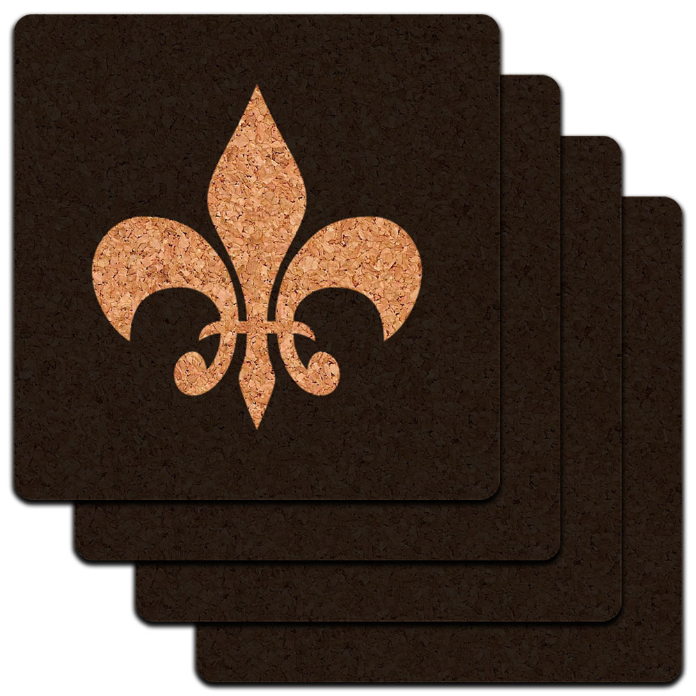 Fleur de Lis Black Low Profile Cork Coaster Set