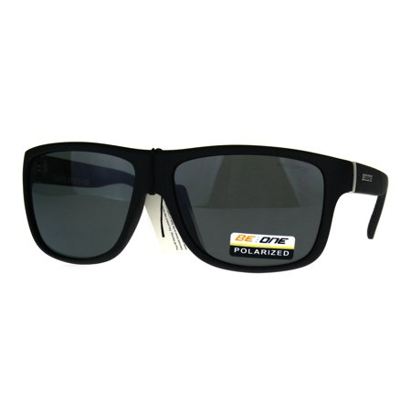Polarized Mens Rectangular Sport Plastic Light Weight Sunglasses Matte Black
