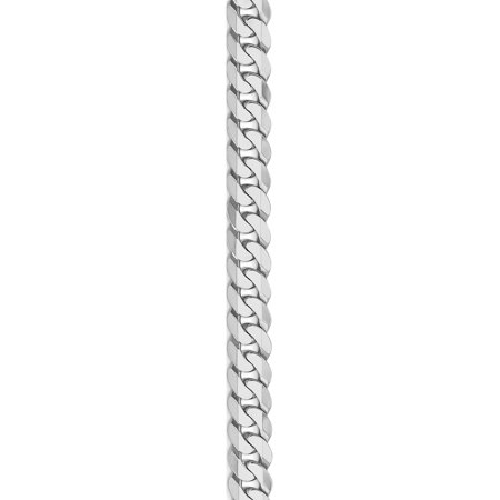 14k White Gold WG 6.1mm Flat Curb Chain - image 4 of 5