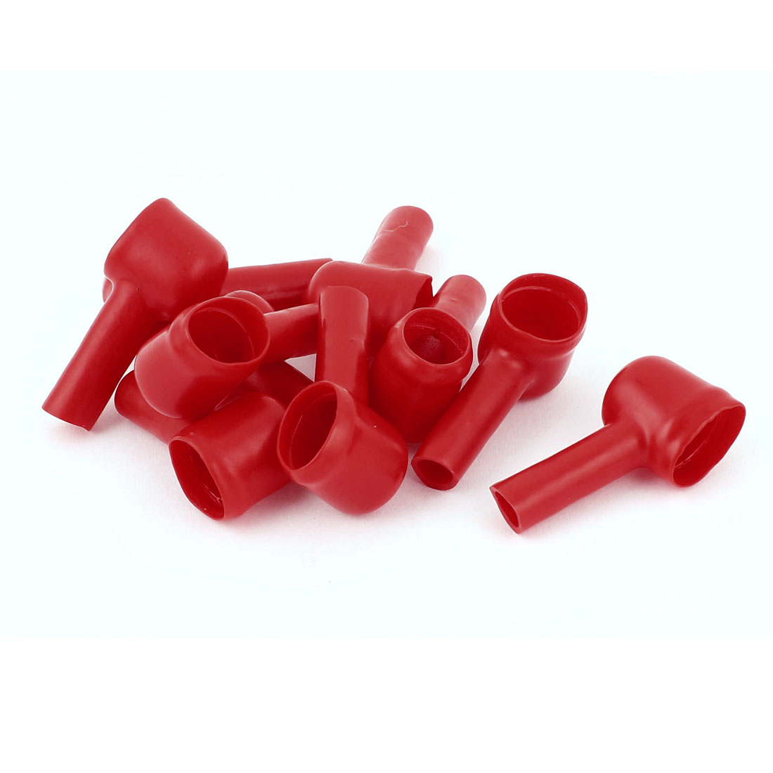 10Pcs Angle Type PVC Battery Terminal Insulating Protector Covers Red 13mmx7mm