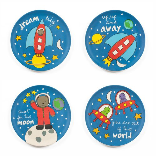 Tiny Footprint Children's Space Plates (Set of 4)