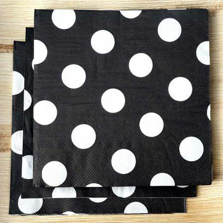 Efavormart Big Polka Dots Restaurant Party Beverage Paper Napkins - Black and White - 20 PCS (Black And White Paper)
