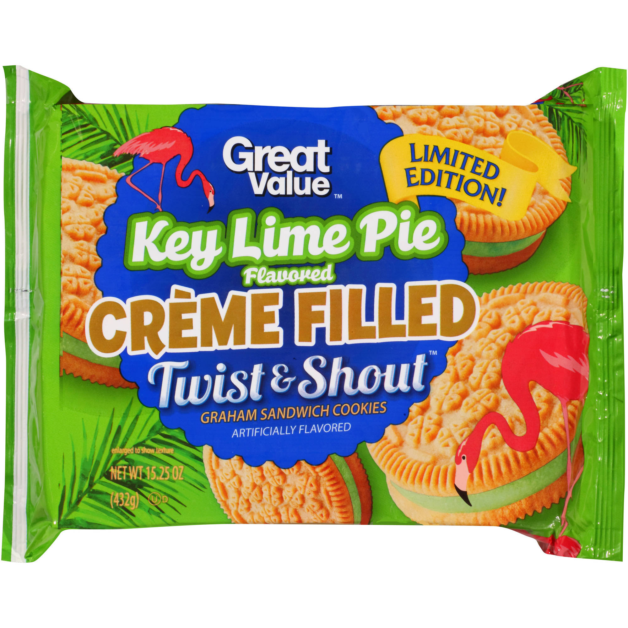 Great Value Twist & Shout Key Lime Pie Flavored Creme Filled Graham Sandwich Cookies, 15.25 oz