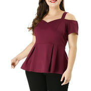 Unique Bargains Women's Plus Size Cold Shoulder Peplum Top Red (Size 1X)