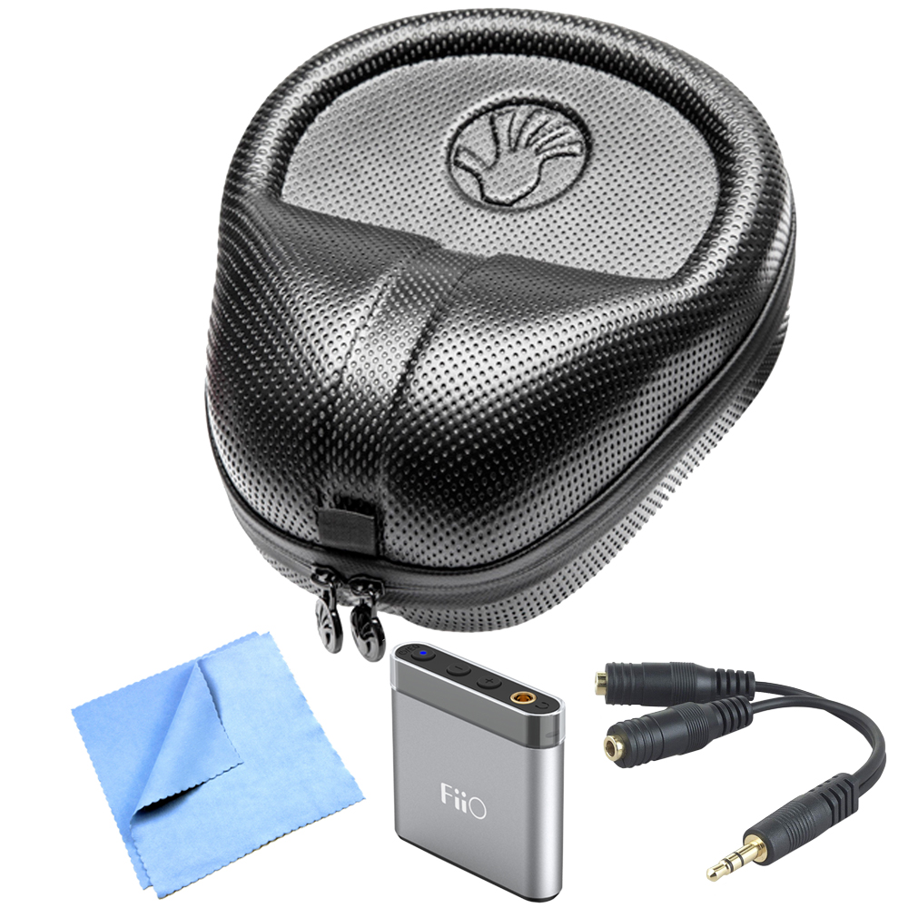 Slappa (SL-HP-07) HardBody PRO Full Sized Headphone Case - Black with Accessory Bundle Includes, FiiO A1 Portable Headphone Amplifier (Silver), Belkin Speaker & Headphone Splitter & Micro Fiber Cloth