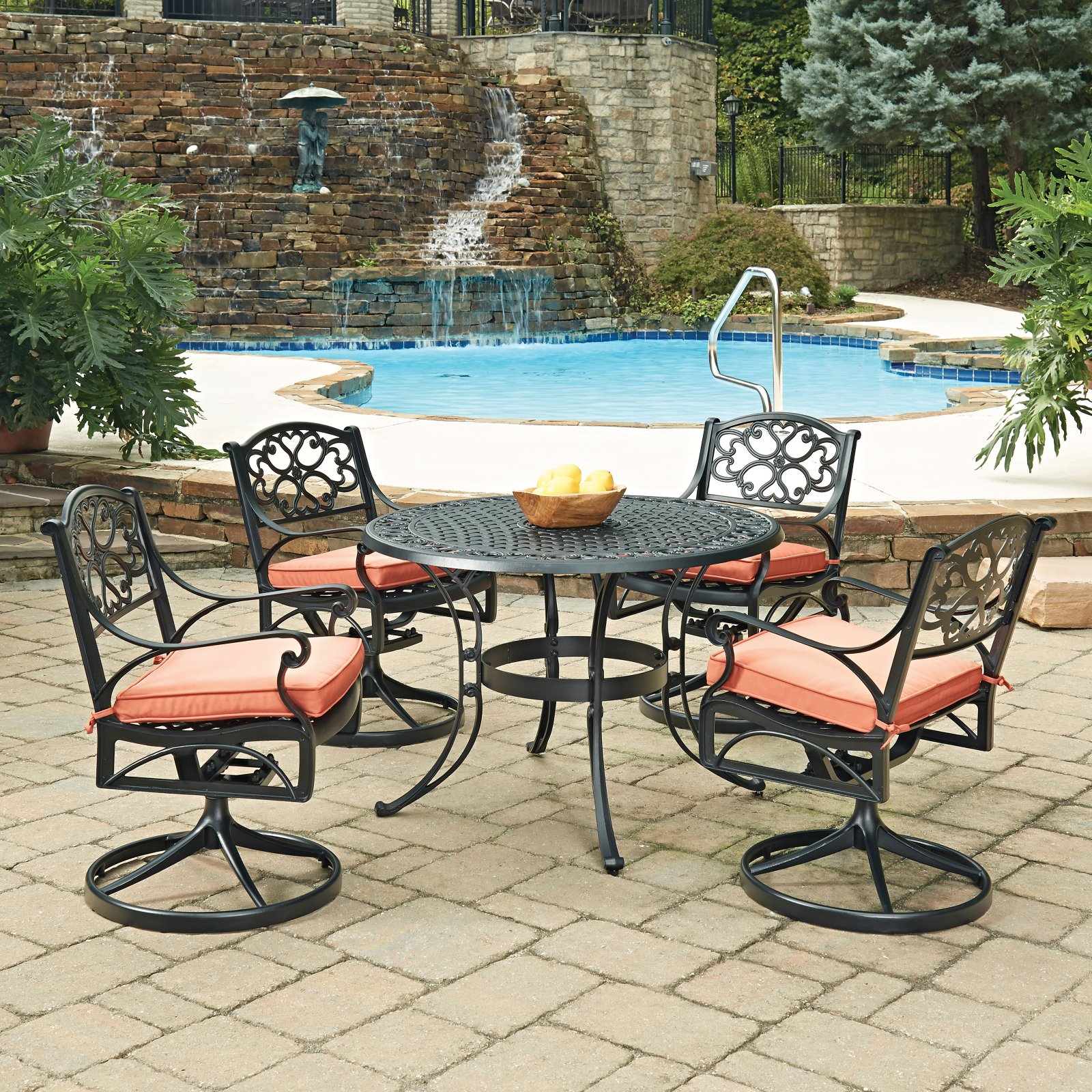 Home Styles Biscayne 42 in. Swivel Patio Dining Room Set Seats 4 by Home Styles