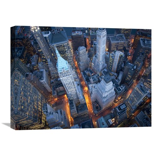 Global Gallery Aerial View of Wall Street by Cameron Davidson Photographic Print on Wrapped Canvas