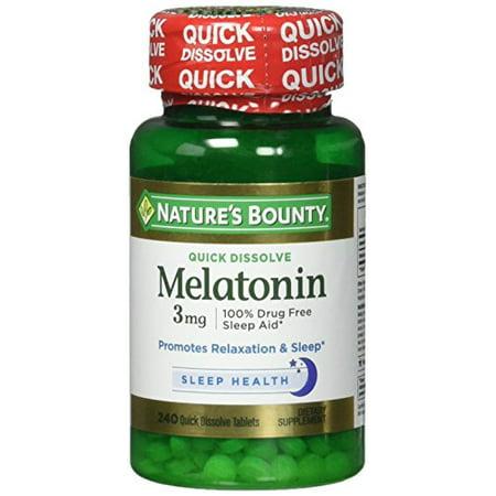 Image of Nature's Bounty Melatonin 3 mg, 240 Quick Dissolve Tablets